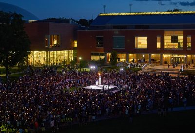 A view of the University convocation ceremony held on the Student Union Mall on Aug. 28, 2015. (Peter Morenus/UConn Photo)